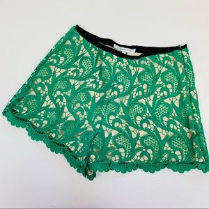 Endless Rose Womens Shorts Green Lace Nude Zip S